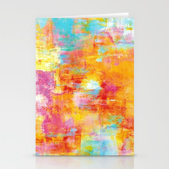 OFF THE GRID Colorful Pastel Neon Abstract Watercolor Acrylic Textural Art Painting Nature Rainbow  Stationery Card