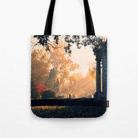 Fall morning at Green Lawn Tote Bag
