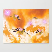 Dance of the Heron and Nebulae. Canvas Print