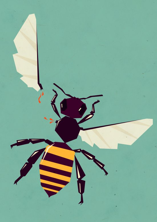 H is for honey bee  Art Print