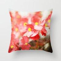 Scarlet Begonias Throw Pillow