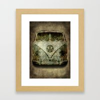 Classic VW  micro bus with battle scars and a distressed patina Framed Art Print