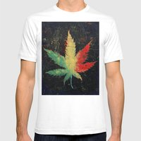 Marijuana Mens Fitted Tee White SMALL