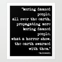 Charles Bukowski Typewriter White Font Quote People Art Print