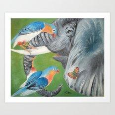 1.Elephant fantasy (blue) Art Print