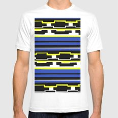 Blue Mexican Pattern White Mens Fitted Tee SMALL