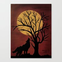 Full Moon/red Canvas Print