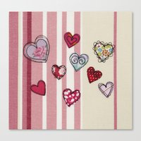Embroidered Heart Illust… Canvas Print