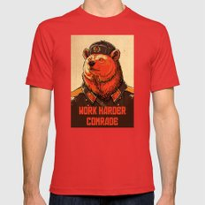 Work Harder, Comrade! Mens Fitted Tee Red SMALL