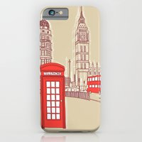 iPhone & iPod Case featuring City Life // London Red Telephone Box by bluebutton studio