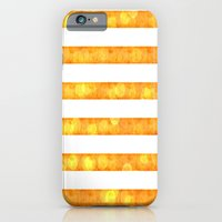 iPhone & iPod Case featuring Bokeh Stripes Orange And White by Corbin Henry