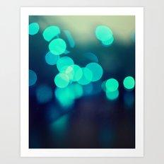 Blue Bokeh 2 Art Print