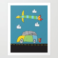 Car Plane Clouds Art Print
