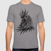 Ornately Decorated Rooster Mens Fitted Tee Tri-Grey SMALL