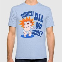 PUNCH ALL YO' BUNS! Mens Fitted Tee Tri-Blue SMALL