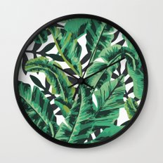 Tropical Glam Banana Leaf Print Wall Clock