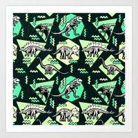 90's Dinosaur Skeleton N… Art Print