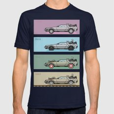 Back to the Future - Delorean x 4 Mens Fitted Tee Navy SMALL