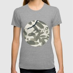 Light Green Forest Leaves Abstract Womens Fitted Tee Tri-Grey SMALL