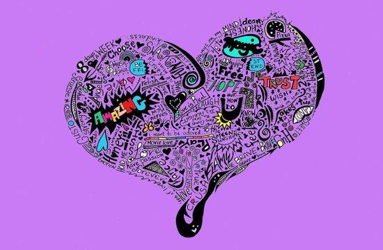 Heartfull en colour Art Print