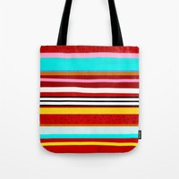 Watermelon Red Striped Colors Tote Bag