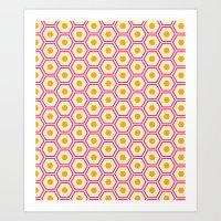 Colored Hexies Art Print