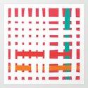 Loom - Coral + Turquoise Art Print