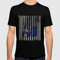 Crow Stripes Mens Fitted Tee Black SMALL