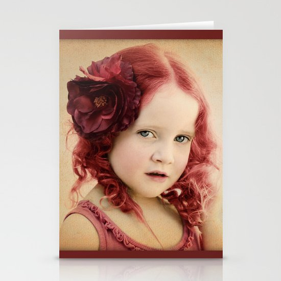 Mila as a Vintage Rose Stationery Card