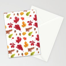 Autumn leaves pattern. Seamless pattern with various hand drawn autumn leaves.  Stationery Cards