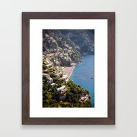 Positano Italy Harbor - Mediterranean Sea Framed Art Print