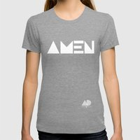 AMEN Womens Fitted Tee Tri-Grey SMALL