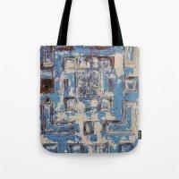 Blue Patterned Door Tote Bag
