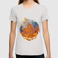 SKY ON FIRE Womens Fitted Tee Silver SMALL