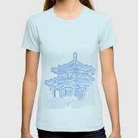 Zen Temple In The Cloud Womens Fitted Tee Light Blue SMALL