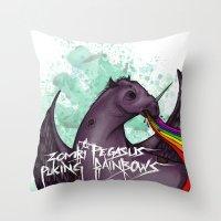 Zombie pegasus puking a rainbow Throw Pillow