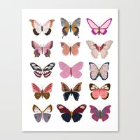 Pink Butterfly Collage Canvas Print