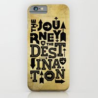 iPhone & iPod Case featuring The Journey Is The Destination, Gold Map by Inspireuart