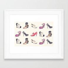 Vintage Shoes Pattern Framed Art Print