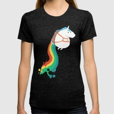 Fat Unicorn on Rainbow Jetpack Womens Fitted Tee Tri-Black LARGE