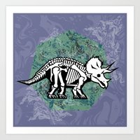 Triceratops Fossil Art Print