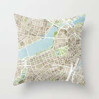 Boston Sepia Watercolor Map Throw Pillow