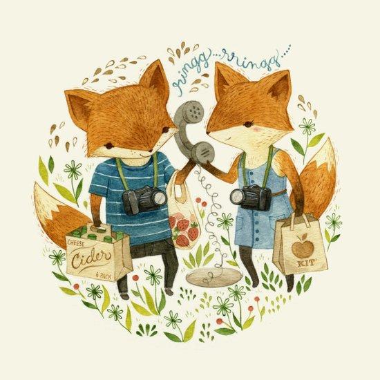 Fox Friends Art Print
