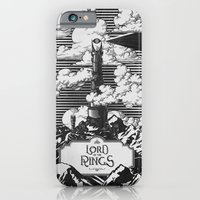 iPhone Cases featuring Lord of the Rings Mordor Tower Vintage Geek Art by Barrett Biggers