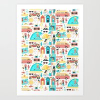 Surfer Girls Art Print