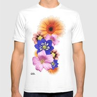 Flower Power. Mens Fitted Tee White SMALL