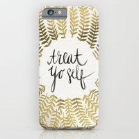 iPhone Cases featuring Treat Yo Self – Gold by Cat Coquillette