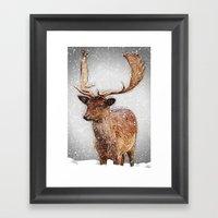 Fallow Deer In The Winte… Framed Art Print