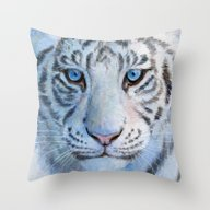 Throw Pillow featuring White Tiger Cub 852 by S-Schukina