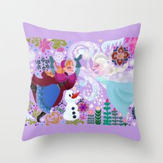 Cute sisters Wall Painting Throw Pillow